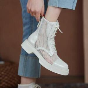 Womens 2021 New Fashion Patent Leather Mesh Lace Up Combat Biker Boots Shoes SKG