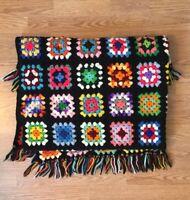 """VTG  Wool Afghan Hand Crochet THROW BLANKET Granny Square Fringe Multi 46"""" X 61"""