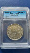 1927-A Germany WEIMAR Republic 3 Mark Silver Coin Nordhousen ICG AU-58
