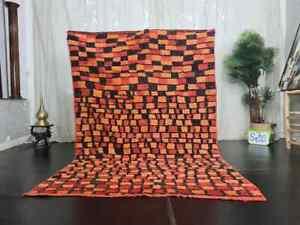 "-VINTAGE RUG- Handmade Moroccan Rug 5'1"" x 7'6"" Checkered Berber Red Black Rug"