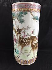 "GORGEOUS VINTAGE ORIENTAL CHINESE DEER FAWN PORCELAIN UMBRELLA STAND 18"" EXC"