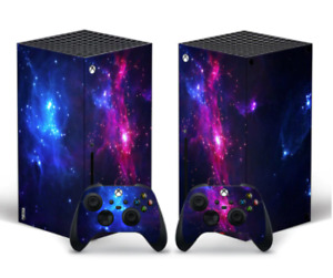 Galaxy Skin Sticker Decal Cover for For Xbox Series X Console and 2 Controllers