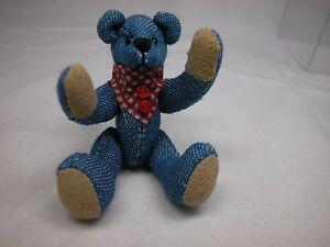 "World of Miniature Bears By Theresa Yang 3"" Denim Bear Chester #1054 CLOSING"