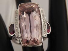 HUGE 31.22 tcw Pink Kunzite Diamond  G/SI AGL Certified Designer Ring 18K WG