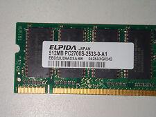 512MB 200p PC2700 CL2.5 8c 32x16 DDR333 2Rx16 2.5V SODIMM, Elpida, ABX, EBD52UD6