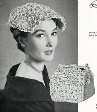 50's 1953 Crochet  Pattern  to make a handbag and hat.  Vintage pattern #1427