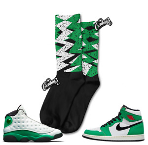Speckled Print Socks for Jordan 13 Lucky Green WMNS Pine 1 Mid T Shirt to Match