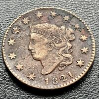 1821 Large Cent Coronet Head One Cent 1c Better Grade RARE Key Date #9185