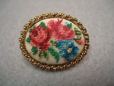 Vintage Micro Needlepoint embroidered Rose Flower Brooch Pin Golden Rope Frame