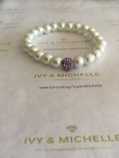 Glass Pearl White Beaded Bracelet w/ Purple Pave Bead