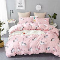 Soft Printed Duvet Quilt Cover Reversible Pink Bedding Sets Pillow Case All Size