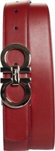 SALVATORE FERRAGAMO Calfino Reversible Belt - Size 38 EU, RED NAVY SILVER