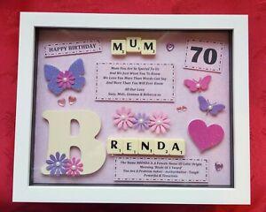 MUM BIRTHDAY GIFT Personalised Picture Frame Keepsake SCRABBLE Mother Mummy Mam