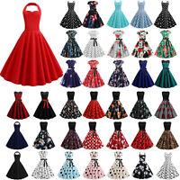 Womens Vintage Rockabilly Swing Dress Evening Party Skater Hepburn Mini Dresses