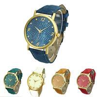 Women Men Denim Cloth Strap Bracelet Wrist Watch Unisex Analog Quartz Tide