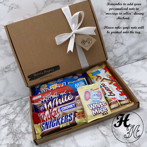 Personalised WHITE Chocolate Sweet Hamper Selection Gift Box Present christmas