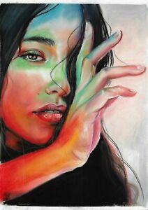 original drawing A3 69HO art samovar Realism Pastel female portrait Signed 2021