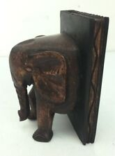 DARK Wood Elephant Book End Beautiful Hand Carved and Stained, Antique Look