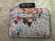 Guess Logo Mirror Card Holder Wallet Flora Purse Coin Case NWT