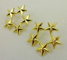 A PAIR OF MILITARY WW2 US ARMY OFFICER 5 STAR GENERAL RANK BADGES PIN  Golden