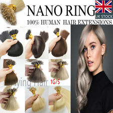 """7A* 14""""-24"""" 1g Nano Ring Tip Bead Double Drawn HALO Remy Human Hair Extensions"""