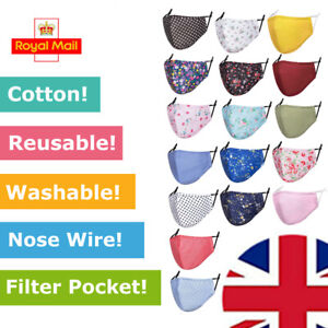Unisex Cotton Face Mask with Filter Pocket & Nose Wire Men Ladies Teenagers UK