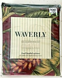 "WAVERLY Floral WAILEA COAST Lined Banded Valance 50x16"" Burgundy Pomegranate"