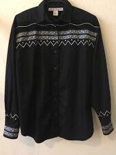 Woman Adobe Rose Western Shirt Top Sz M Black Long Sleeve Embellishments
