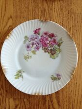 Vtg Wheelock Germany Plate Floral Pink Purple Gold Trim Swirl Ribbed Porcelain