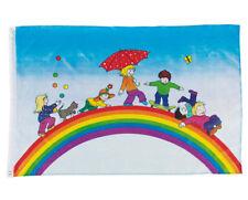 FLAGGE Spielende Kinder Kinderflagge Regenbogen Fahne Kinderfahne Stoff-Fahne