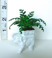 VICTORIAN FERN in WHITE Elephant planter dolls house Handmade miniature 12th