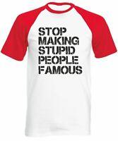 Men's Stop Making Stupid People Famous Baseball Shirt Short Sleeve