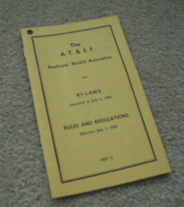 Vintage 1966 Booklet AT&SF Rules and Regulations Employees Benefit Association