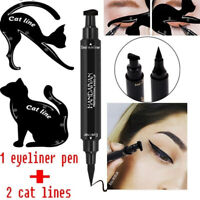 3Pcs Dual-ended Liquid Eyeliner Pen+Stamp Seal Cat Eyeshadow Template Card SET