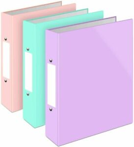 A4 Pastel Ring Binders 40mm - Two D-Rings Blue, Pink, Teal - Pack 3