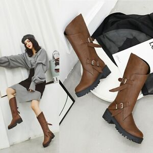Women Fashion Mid Calf Boots Chunky Heel Thick Bottom Round Toe Casual Shoes Sz