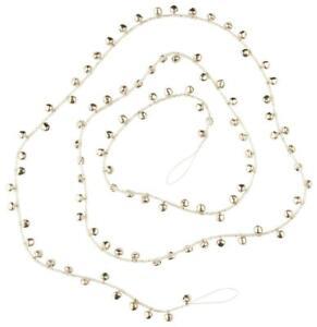 "Shiny Silver Mini Jingle Bell and Glass Bead Christmas Garland 65"" Long"