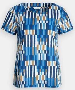 SEASALT WOMENS BLUE PEBBLE ART Cotton Top Tee Blouse Short Sleeves 8/18 £19.95