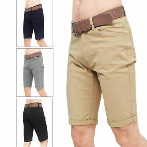 Crosshatch Mens Delena Belted Chino Shorts Cotton Knee Length Turn Up Bottoms