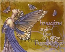 Jessica Galbreth Print Imagine the Possibilities Butterfly Sign Fairy Faery New
