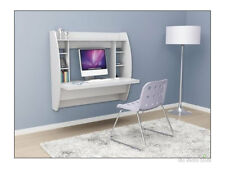 Prepac Floating Desk Wall Mounted Computer Desks for Home Small Spaces, White