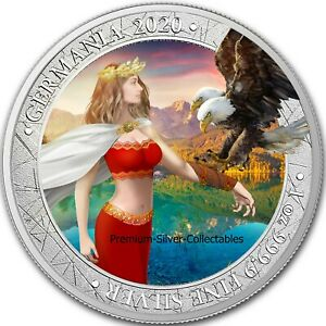 2020 Lady Germania Allegories 1 Ounce Pure Silver Colorized Coin!