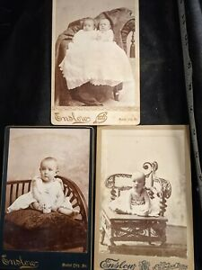 Vintage Cabinet Card 3 Photos Infants twins Columbian Block Enslow Mound City MO