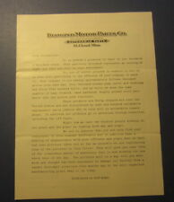 1920's DIAMOND MOTOR PARTS Co. - Letterhead / Stockholder Brochure ST CLOUD MINN