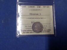 Queen Victoria  I.C.C.S. 1880 V.F. 20 Obverse 1 Canadian 10 cents