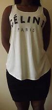 CELINE PARIS Tshirt Top Tank White RIHANNA VEST T shirt Ladies Women Girls