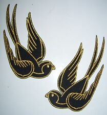 2 black gold sparrow swallow iron on patch rockabilly punk tattoo - 11