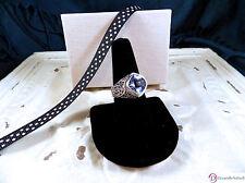 SARA BLAINE Blue Quartz Sterling Silver Bali Scroll Ring ~ Size 9
