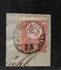 Hungary 5Kr ENGRAVED stamp on sheet TPO VASP 1875 datestamp