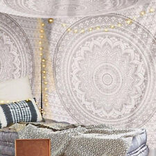 Small White Silver Ombre Mandala Hippie Twin Size Wall Decorative Tapestry Throw